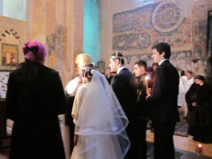 The wedding ceremony at the church.